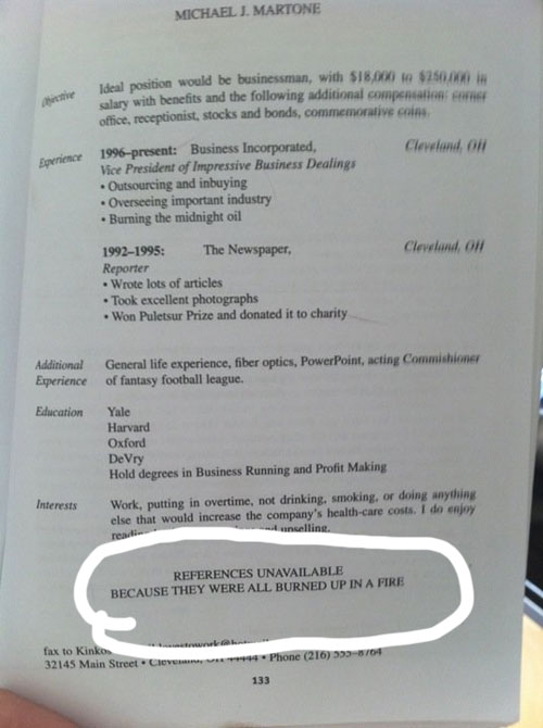 emptyjpg awful fail resumes funny 141jpg - Funny Resume